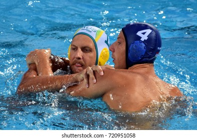 Budapest, Hungary - Jul 17, 2017. ZALANKI Gergo (HUN) waterpolo player (in blue) fights with HOLLIS Lachlan (AUS). FINA Waterpolo World Championship was held in Alfred Hajos Swimming Centre in 2017.
