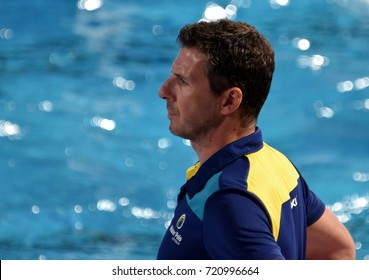 Budapest, Hungary - Jul 17, 2017. FATOVIC Elvis, head coach of Australia Men Waterpolo team. FINA Waterpolo World Championship was held in Alfred Hajos Swimming Centre in 2017.