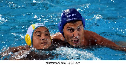 Budapest, Hungary - Jul 17, 2017. DECKER Adam, hungarian waterpolo player (in blue) fights with KAYES Joe (AUS). FINA Waterpolo World Championship was held in Alfred Hajos Swimming Centre in 2017.