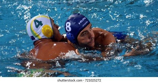 Budapest, Hungary - Jul 17, 2017. GOR-NAGY Miklos (HUN) (in blue) fights with KAYES Joe (AUS). FINA Waterpolo World Championship was held in Alfred Hajos Swimming Centre in 2017.