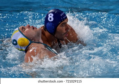 Budapest, Hungary - Jul 17, 2017. GOR-NAGY Miklos (HUN) (in blue) fights with EDWARDS Lachlan (AUS). FINA Waterpolo World Championship was held in Alfred Hajos Swimming Centre in 2017.