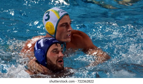 Budapest, Hungary - Jul 17, 2017. MEZEI Tamas (HUN) fights with FORD George  (AUS). FINA Waterpolo World Championship was held in Alfred Hajos Swimming Centre in 2017.