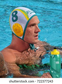 Budapest, Hungary - Jul 17, 2017. YOUNGER Aaron (8) australian waterpolo player. FINA Waterpolo World Championship was held in Alfred Hajos Swimming Centre in 2017.