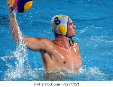 Budapest, Hungary - Jul 17, 2017. YOUNGER Aaron, australian waterpolo player. FINA Waterpolo World Championship was held in Alfred Hajos Swimming Centre in 2017.