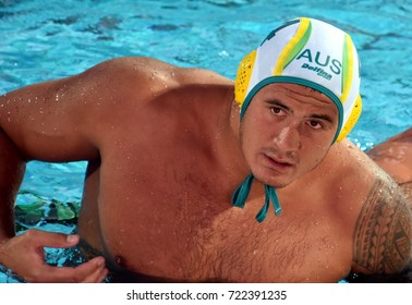 Budapest, Hungary - Jul 17, 2017. KAYES Joe (4) australian waterpolo player. FINA Waterpolo World Championship was held in Alfred Hajos Swimming Centre in 2017.
