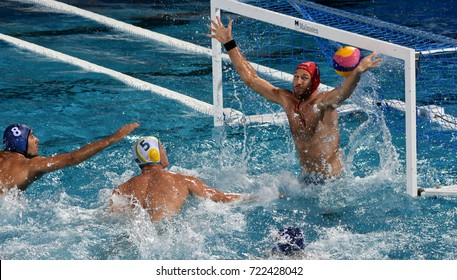 Budapest, Hungary - Jul 17, 2017. Hungarian men waterpolo team's goalkeeper NAGY Viktor defends against Australia. FINA Waterpolo World Championship was held in Alfred Hajos Swimming Centre in 2017.
