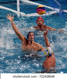 Budapest, Hungary - Jul 17, 2017. NAGY Viktor (HUN) and VARGA Denes (HUN) defend against  GILCHRIST Jarrod (AUS). FINA Waterpolo World Championship was held in Alfred Hajos Swimming Centre in 2017.