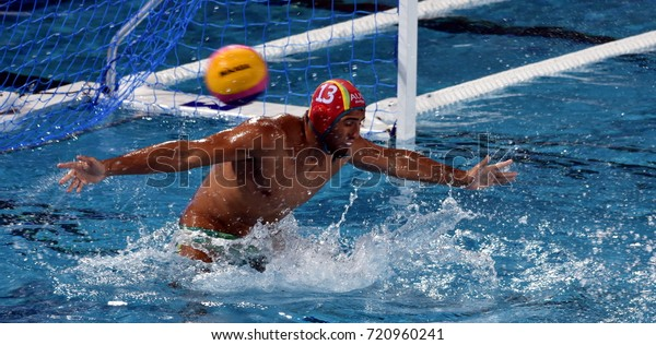 Budapest, Hungary - Jul 17, 2017. HRYSANTHOS Anthony australian waterpolo goalkeeper. FINA Waterpolo World Championship was held in Alfred Hajos Swimming Centre in 2017.