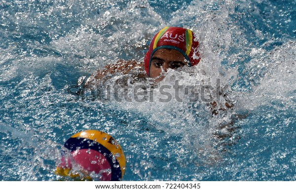 Budapest, Hungary - Jul 17, 2017. HRYSANTHOS Anthony, australian waterpolo goalkeeper. FINA Waterpolo World Championship was held in Alfred Hajos Swimming Centre in 2017.