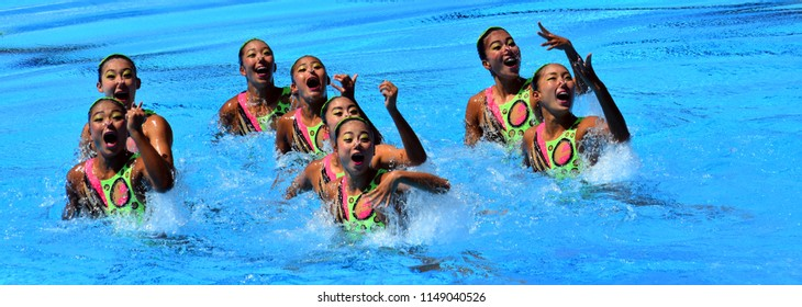 Budapest, Hungary - Jul 18, 2017. Synchronized swimming team Japan performing a synchronized routine of elaborate moves in the Final of Team Technical. FINA Synchro Swimming World Championship.