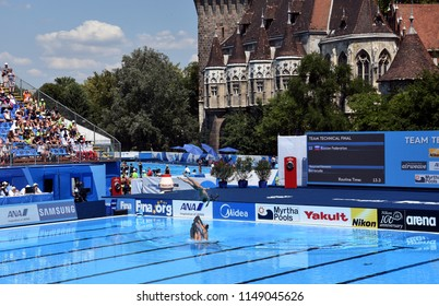 Budapest, Hungary - Jul 18, 2017. Synchronized swimming team Russia performing a synchronized routine of elaborate moves in the Final of Team Technical. FINA Synchro Swimming World Championship.