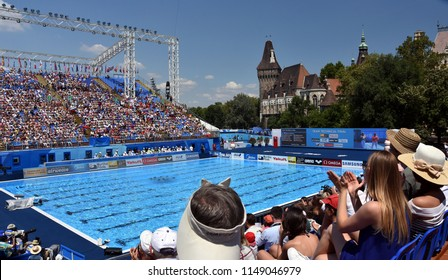 Budapest, Hungary - Jul 18, 2017. People watching synchro team performance in Varosliget on the FINA Synchronised Swimming World Championship.