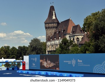 Budapest, Hungary - Jul 18, 2017. Place of FINA Synchro Swimming World Championship in Varosliget with Castle of Vajdahunyad in the background.