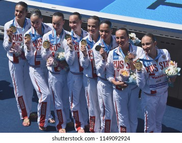 Budapest, Hungary - Jul 18, 2017. The winner synchronized swimming team Russia at the Victory Ceremony of Team Technical. FINA Synchro Swimming World Championship.
