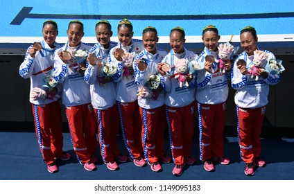 Budapest, Hungary - Jul 18, 2017. The winner synchronized swimming team Japan at the Victory Ceremony of Team Technical. FINA Synchro Swimming World Championship.