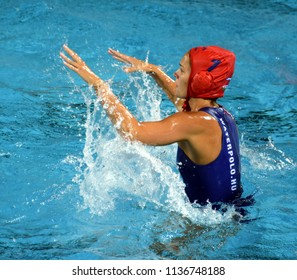 Budapest, Hungary - Jul 20, 2017. GANGL Edina (HUN) goalkeeper in the preliminary round. FINA Waterpolo World Championship was held in Alfred Hajos Swimming Centre in 2017.