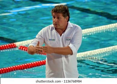 Budapest, Hungary - Jul 20, 2017. BIRO Attila, head coach of Hungary Women Waterpolo team. FINA Waterpolo World Championship was held in Alfred Hajos Swimming Centre in 2017.