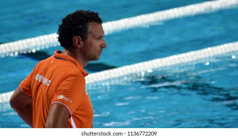Budapest, Hungary - Jul 20, 2017. HAVENGA Arno, head coach of Netherlands Women Waterpolo team. FINA Waterpolo World Championship was held in Alfred Hajos Swimming Centre in 2017.