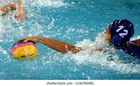 Budapest, Hungary - Jul 20, 2017. SZILAGYI Dorottya (HUN) in the preliminary round. FINA Waterpolo World Championship was held in Alfred Hajos Swimming Centre in 2017.