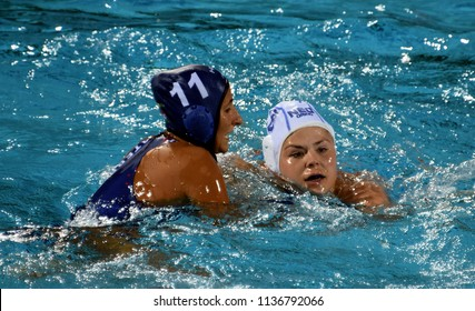 Budapest, Hungary - Jul 20, 2017. CSABAI Dora (HUN) plays against SEVENICH Vivian (NED) in the preliminary round. FINA Waterpolo World Championship was held in Alfred Hajos Swimming Centre in 2017.