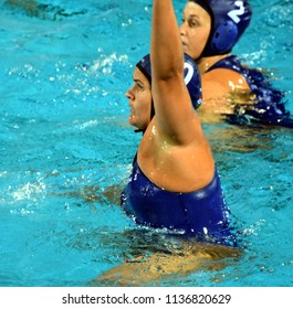 Budapest, Hungary - Jul 20, 2017. BUJKA Barbara (HUN) fights against Netherlands in the preliminary round. FINA Waterpolo World Championship was held in Alfred Hajos Swimming Centre in 2017.