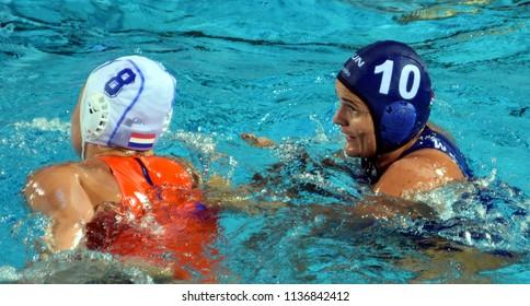Budapest, Hungary - Jul 20, 2017. BUJKA Barbara (HUN) fights against SEVENICH Vivian (NED) in the preliminary round. FINA Waterpolo World Championship was held in Alfred Hajos Swimming Centre in 2017.