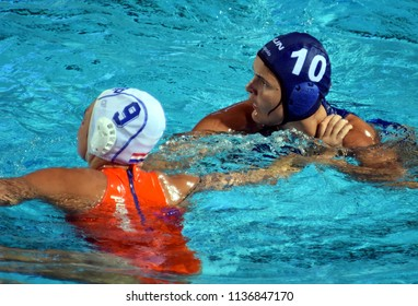 Budapest, Hungary - Jul 20, 2017. BUJKA Barbara (HUN) fights against MEGENS Maud (NED) in the preliminary round. FINA Waterpolo World Championship was held in Alfred Hajos Swimming Centre in 2017.