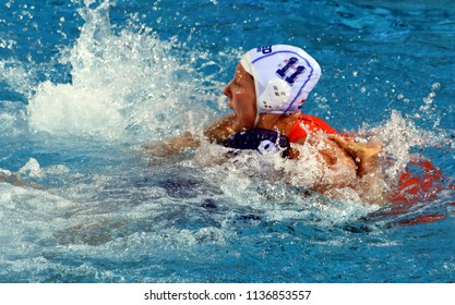Budapest, Hungary - Jul 20, 2017. TOTH Ildiko (HUN) fights against KLAASSEN Lieke (NED) in the preliminary round. FINA Waterpolo World Championship was held in Alfred Hajos Swimming Centre in 2017.