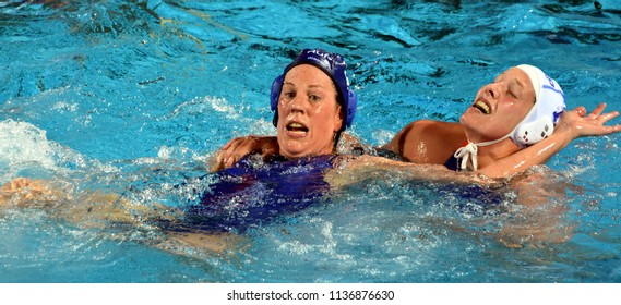 Budapest, Hungary - Jul 20, 2017. TAKACS Orsolya (HUN) fights against KLAASSEN Lieke (NED) in the preliminary round. FINA Waterpolo World Championship was held in Alfred Hajos Swimming Centre in 2017.