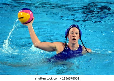 Budapest, Hungary - Jul 20, 2017. TAKACS Orsolya (HUN) fights against Netherlands in the preliminary round. FINA Waterpolo World Championship was held in Alfred Hajos Swimming Centre in 2017.