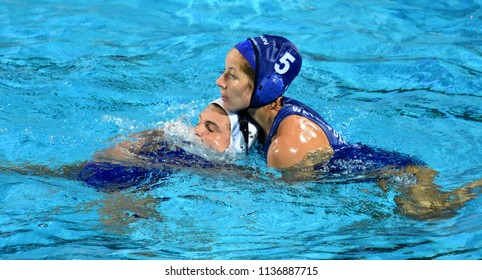 Budapest, Hungary - Jul 20, 2017. SZUCS Gabriella (HUN) fights against Netherlands in the preliminary round. FINA Waterpolo World Championship was held in Alfred Hajos Swimming Centre in 2017.