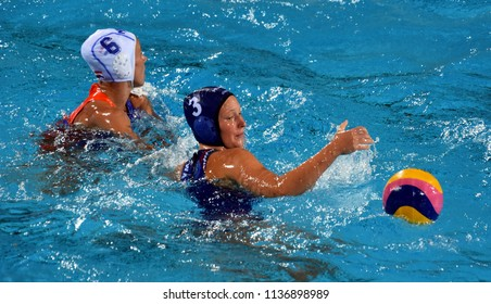 Budapest, Hungary - Jul 20, 2017. ANTAL Dora (HUN) fights against STOMPHORST Nomi (NED) in the preliminary round. FINA Waterpolo World Championship was held in Alfred Hajos Swimming Centre in 2017.