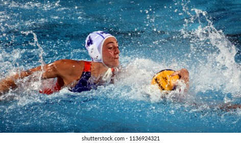 Budapest, Hungary - Jul 20, 2017. Van der SLOOT Sabrina (NED) in the preliminary round. FINA Waterpolo World Championship was held in Alfred Hajos Swimming Centre in 2017.