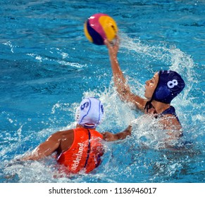 Budapest, Hungary - Jul 20, 2017. KESZTHELYI Rita (HUN) fights against STOMPHORST Nomi (NED) in the preliminary round. FINA Waterpolo World Championship was held in Alfred Hajos Swimming Centre.