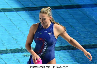 Budapest, Hungary - Jul 20, 2017.  GURISATTI Greta  (HUN) plays against Netherlands in the preliminary round. FINA Waterpolo World Championship was held in Alfred Hajos Swimming Centre.