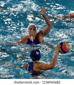 Budapest, Hungary - Jul 20, 2017.  GURISATTI Greta  (HUN) plays against Netherlands in the preliminary round. FINA Waterpolo World Championship was held in Alfred Hajos Swimming Centre