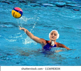 Budapest, Hungary - Jul 20, 2017. MEGENS Maud (NED) in the preliminary round. FINA Waterpolo World Championship was held in Alfred Hajos Swimming Centre in 2017.
