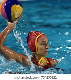 Budapest, Hungary - Jul 20, 2017. ESTER RAMOS Laura (ESP) goalkeeper of the Spanish team in the preliminary round. FINA Waterpolo World Championship was held in Alfred Hajos Swimming Centre in 2017.