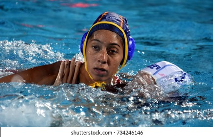 Budapest, Hungary - Jul 20, 2017. ORTIZ REYES Matilde (ESP) player of the Spanish team in the preliminary round. FINA Waterpolo World Championship was held in Alfred Hajos Swimming Centre in 2017.