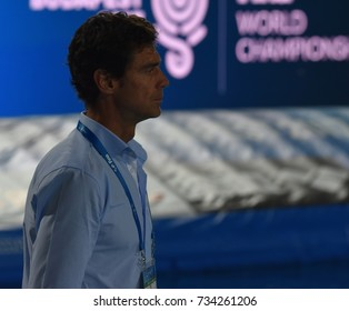 Budapest, Hungary - Jul 20, 2017. OCA GAIA Miguel head coach of the Spanish team. FINA Waterpolo World Championship was held in Alfred Hajos Swimming Centre in 2017.