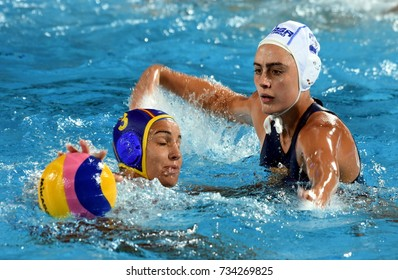 Budapest, Hungary - Jul 20, 2017. ESPAR LLAQUET Anna (ESP, blue) plays against PENNEY Amber (RSA) in the preliminary round. FINA Waterpolo World Championship was held in Alfred Hajos Swimming Centre.
