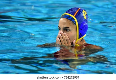 Budapest, Hungary - Jul 20, 2017. PENA CARRASCO Maria del Pilar (ESP) player of the Spanish team in the preliminary round. FINA Waterpolo World Championship was held in Alfred Hajos Swimming Centre.