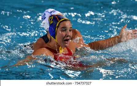 Budapest, Hungary - Jul 20, 2017. LEITON ARRONES Paula (ESP) player of the Spanish team in the preliminary round. FINA Waterpolo World Championship was held in Alfred Hajos Swimming Centre in 2017.
