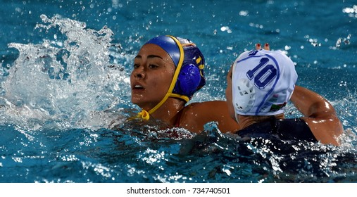 Budapest, Hungary - Jul 20, 2017. CRESPI BARRIGA Paula (ESP) plays against MANSON Marcelle (RSA) in the preliminary round. FINA Waterpolo World Championship was held in Alfred Hajos Swimming Centre.