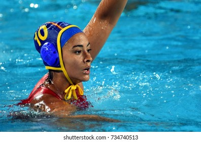 Budapest, Hungary - Jul 20, 2017. CRESPI BARRIGA Paula (ESP) player of the Spanish team in the preliminary round. FINA Waterpolo World Championship was held in Alfred Hajos Swimming Centre in 2017.