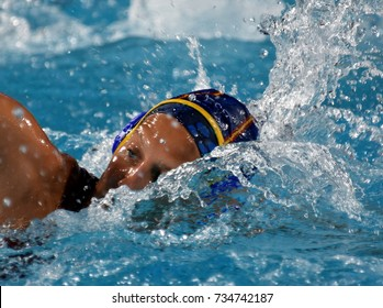 Budapest, Hungary - Jul 20, 2017. BACH PASCUAL Marta (ESP) player of the Spanish team in the preliminary round. FINA Waterpolo World Championship was held in Alfred Hajos Swimming Centre in 2017.