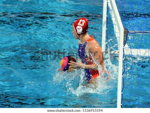 Budapest, Hungary - Jul 20, 2017. WILLEMSZ Debby (NED) goalkeeper in the preliminary round. FINA Waterpolo World Championship was held in Alfred Hajos Swimming Centre in 2017.