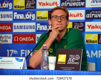 Budapest, Hungary - Jul 21, 2017. Mack Horton swimmer on the press conference of the Swimming Team Australia before the FINA Swimming World Championship which was held in Budapest, Duna Arena.