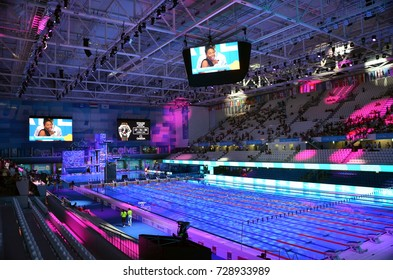 Budapest, Hungary - Jul 21, 2017. Inside the Duna Arena, the home of swimming and diving competitions during the FINA Swimming World Championships.