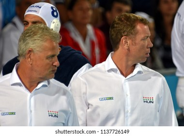 Budapest, Hungary - Jul 25, 2017. GERENDAS Gyorgy and MARCZ Tamas head coach of Hungary Men Waterpolo team with . FINA Waterpolo World Championship was held in Alfred Hajos Swimming Centre in 2017.